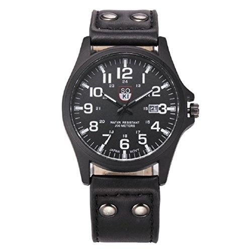 Amcool Luxus Jahrgang Klassisch Wasserdicht Datum PU Lederband Armee Uhr Schwarz 1