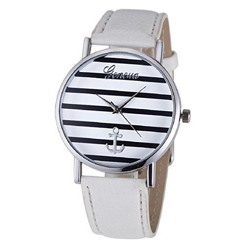 Culater Damen Maedchen Streifen Anker PU Leder Uhr Armbanduhr Silber Weiss