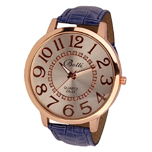 Culater Frauen Dame gross Roemer Zahlen Gold Zifferblatt Leder Quarzuhr Armbanduhr blau