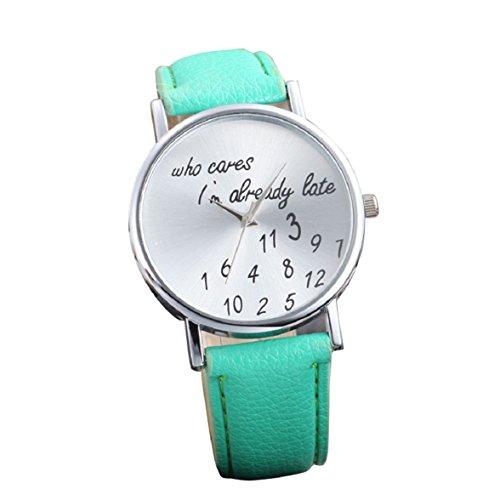 Culater Frauen einfach Persoenlichkeit Strass PU Leder Uhr Armbanduhr gruen