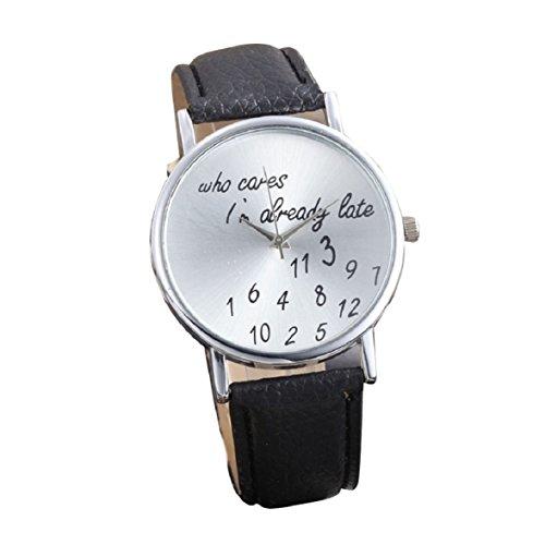 Culater Frauen einfach Persoenlichkeit Strass PU Leder Uhr Armbanduhr schwarz