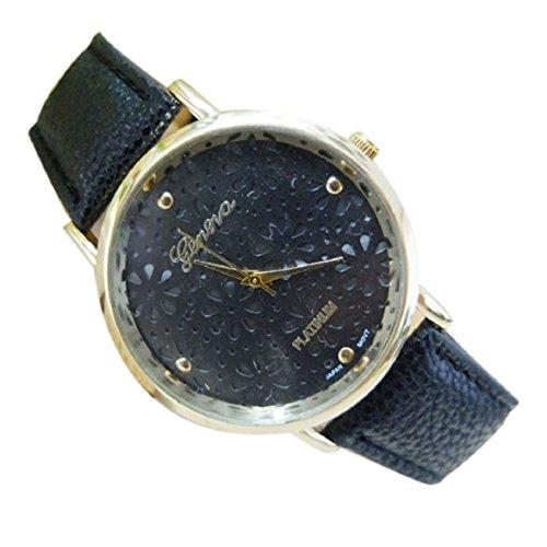 Culater Frauen hohl Blume Zifferblatt Candy Farbe Kunstleder Uhr Armband schwarz