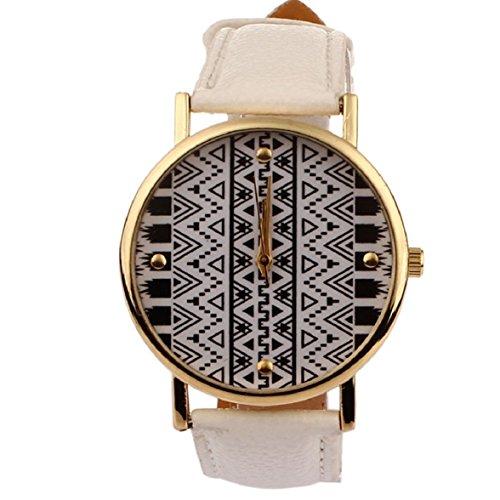 Culater Frauen Maedchen Luxus Retro geometrisches Muster PU Leder Uhr Armbanduhr weiss