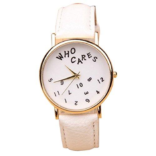 Culater Frauen Maedchen Who Cares PU Leder Uhr Armbanduhr weiss