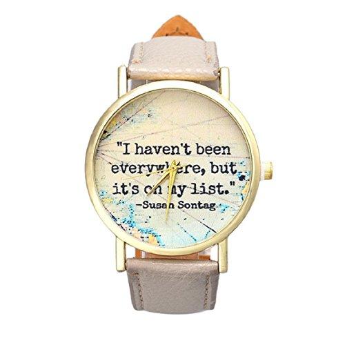 Culater Maedchen Damen einfach Englisch Sprichwort Zeichen PU Leather Band Uhr Armbanduhr Grau