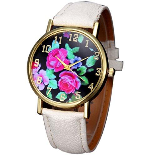 Culater Mode Frauen Retro Bunt Rose Blume Kleid Uhr Blumenmuster Zifferblatt Armbanduhr weiss