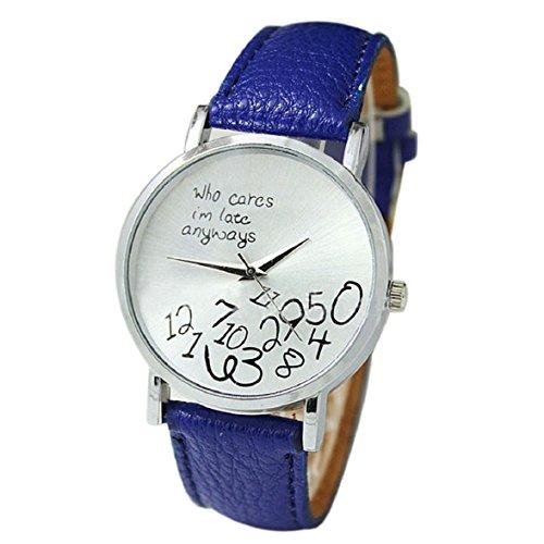 Culater neu Bunt Frauen einfach Who Cares I am Late Anyway Leather Band Uhr Armbanduhr blau