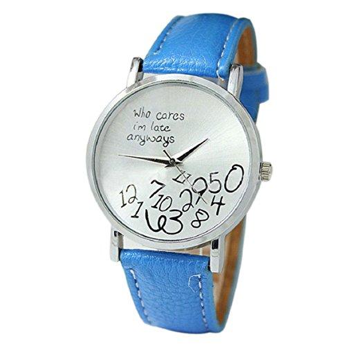 Culater neu Bunt Frauen einfach Who Cares I am Late Anyway Leather Band Uhr Armbanduhr hellblau