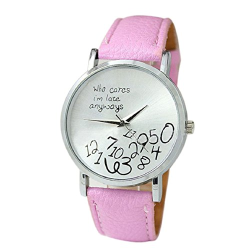 Culater neu Bunt Frauen einfach Who Cares I am Late Anyway Leather Band Uhr Armbanduhr rosa