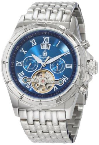 Burgmeister Royal BM127 131 Herren Automatik Uhr Edelstahl silber blau Tag Datum Monat offene Unruh