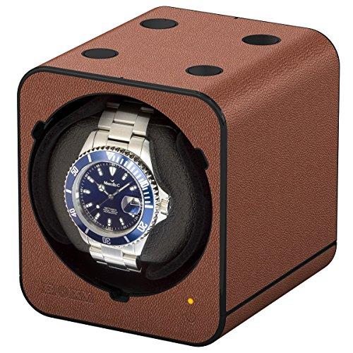 Boxy Fancy Brick Uhrenbeweger Farbe Braun Lederoptik MODULARES SYSTEM mit Power Sharing Technologie Programmierbar Ohne Netzadapter Modell mit 2017er Platine