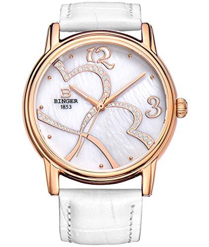 Binger Armbanduhr fuer Damen klassisches Design weisses Perlmutt Zifferblatt Analog Quarzuhr mit weissem Lederband