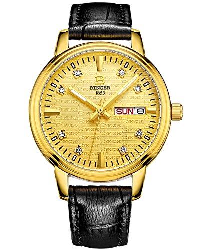 Binger Quarz Gold Watch Fall Silber Edelstahl Armband