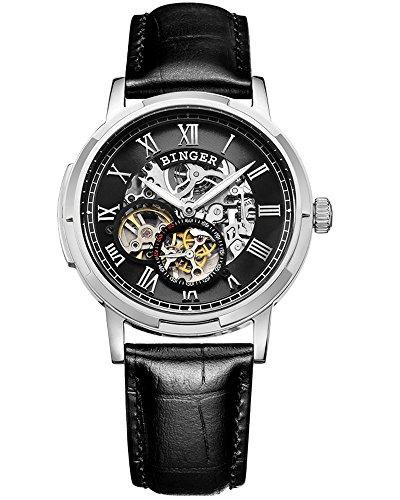 Binger Automatik Wasserdicht Mechanische Skeleton Uhr Schwarz Vorwahlknopf Leder Band