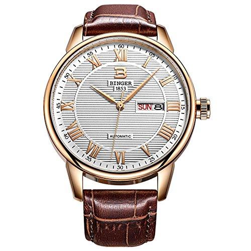 Binger Rose Gold Ton und braun Lederband mit roemischen Ziffern Uhr