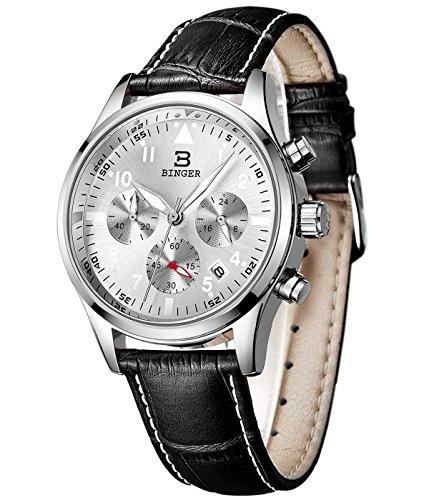 Binger Herren Datum Unisex Militaer Chronograph Uhren Stoppuhr 24 Stunde phosphoreszierende Ziffern Lederband
