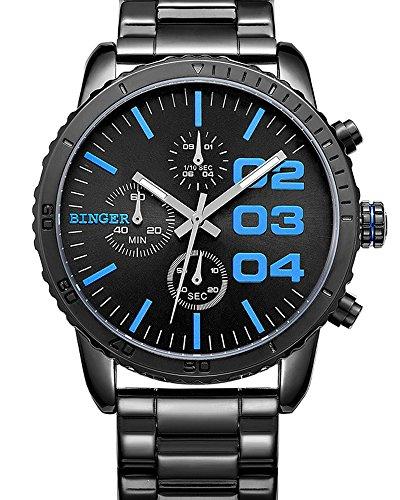 Binger Herren Quartz Schwarz Blau Dial Chronograph anzeigen Edelstahl Wasserdicht Armbanduhr blau