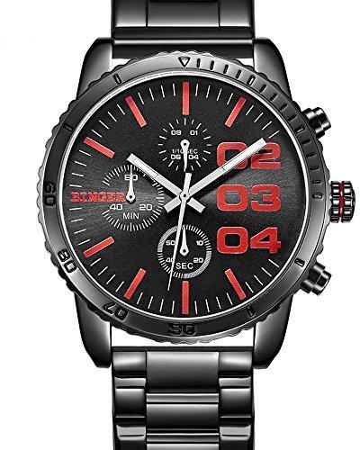 Binger Herren Quartz Schwarz Blau Dial Chronograph anzeigen Edelstahl Wasserdicht Armbanduhr Red