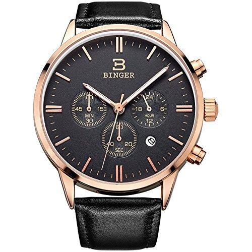 Binger Datum Unisex Schwarz Chronograph Uhren fuer Maenner Online Stoppuhr 24 Stunde Rose Gold Lederband