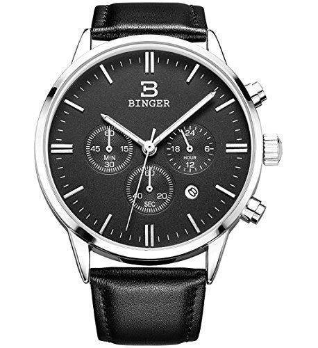 Binger Datum Chronograph Quarz Stoppuhr 24 Stunde Black Watch Leder Band Luminous Hand