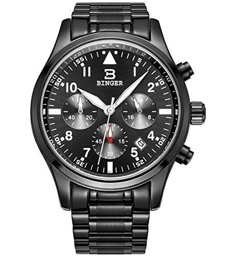 Binger Herren Datum Unisex Schwarz Sport Chronograph Uhren Stoppuhr Edelstahl phosphoreszierende Ziffern