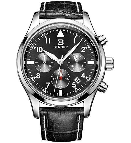 Binger Herren Datum Unisex Schwarz Sport Chronograph Uhren Stoppuhr Timer Lederband phosphoreszierende Ziffern