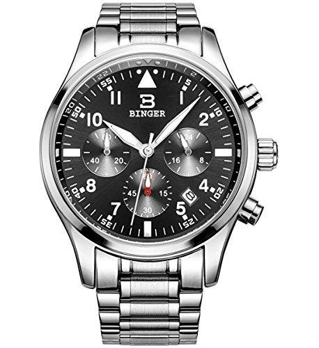 Binger Herren Datum Luxus Stoppuhr Chronograph Wasserdicht Edelstahl Business Casual Armbanduhr