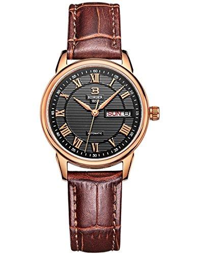 Binger Damen Armbanduhr Rose Gold Luenette Schwarz Zifferblatt Quarz mit Rindsleder Leder Gurt