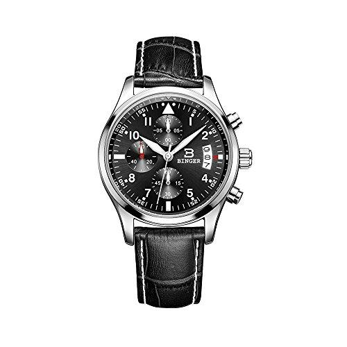 Binger Herren Fashion Luminous Wasser Proof Fall Cover Armbanduhr mit Farbe Schwarz Lederband