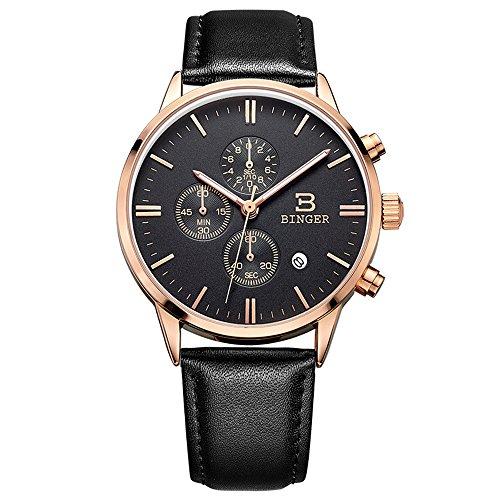 Binger Fashion Unisex Schwarz Multifunktions Chronograph Rose Gold mit Lederband