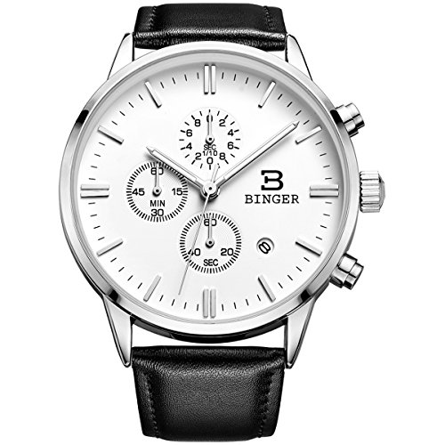 Binger Herren Armbanduhr Chronograph Analog Quarz Uhr Lederarmband
