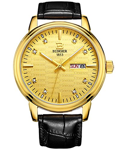 Binger Quarz Gold Watch Fall Schwarz Lederband
