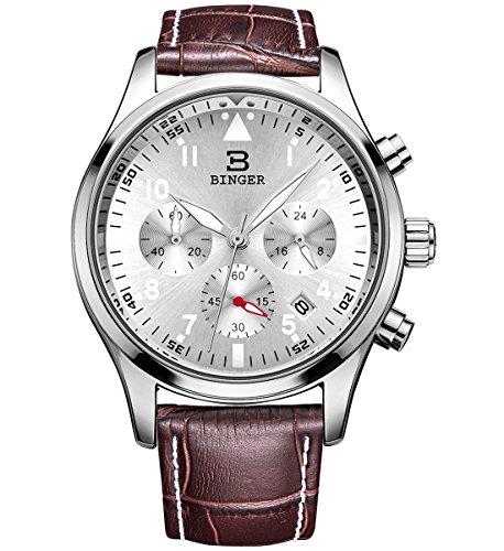 Binger Herren Chronograph Multifunktions Quarz Armbanduhr mit Braunem Leder Armband Silbernes Zifferblatt und Silberne Luenette 9202b P01AYK