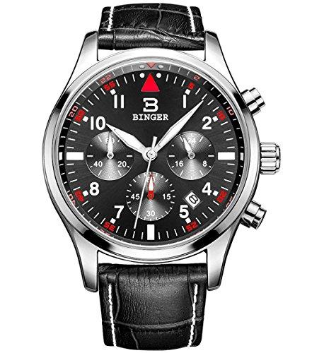 Binger Herren Chronograph Multifunktions Quarz Armbanduhr mit schwarzem Leder Armband schwarzes Zifferblatt und silberne Luenette 9202B P01EYH