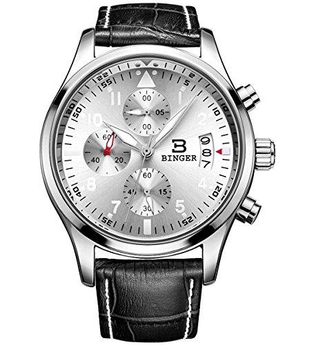 Binger Herren Chronograph Multifunktions Quarzuhr mit schwarzem Lederband silberfarbenem Zifferblatt und silberfarbener Luenette 9092A P01AY