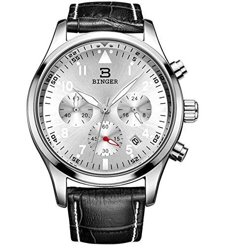 Binger Herren Chronograph Multifunktions Quarzuhr mit schwarzem Lederband silberfarbenes Zifferblatt und Silberfassung 9202B P01AY