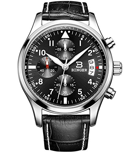 Binger Sport Herren Quarz Uhr mit schwarzem Zifferblatt Chronograph Display und Leder Armband Schwarz