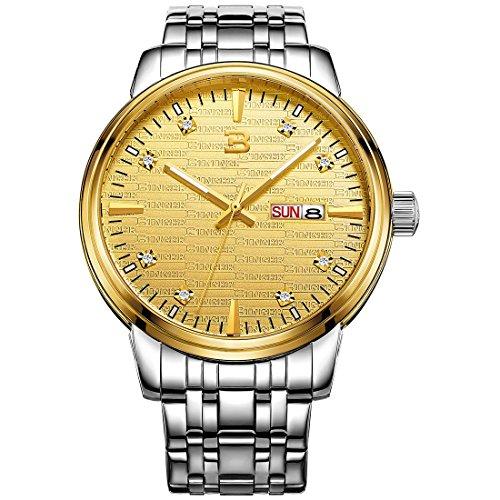 Binger Herren Quarzuhr mit Tag und Datumsanzeige mit silberfarbenem Edelstahl Armband phosphoreszierende Zeiger goldfarbenes Zifferblatt