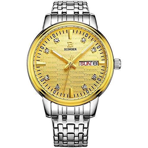 Binger Damen Tag Datum Gold Kleid mit luminous hands und Edelstahl Armband 36l 1b