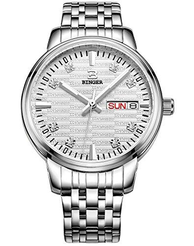 Binger Damen Tag Datum Kleid Watch mit luminous hands und Edelstahl Armband Silber 36l 1 a