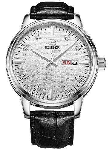 Binger Herren Tag Datum Quarz Kleid Uhren mit luminous hands und Lederband schwarz 36 m 2 a