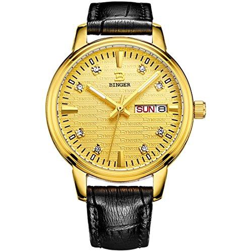 Binger Damen Tag Datum Gold Kleid Uhren mit luminous hands und Lederband schwarz 36l 2b
