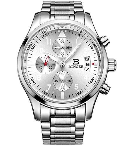 Binger Herren Luminous Business Casual mit Edelstahl Armband Silber Zifferblatt