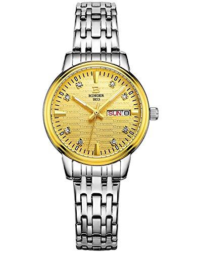 Binger Damen Luminous Gold Zifferblatt mit Edelstahl Armband