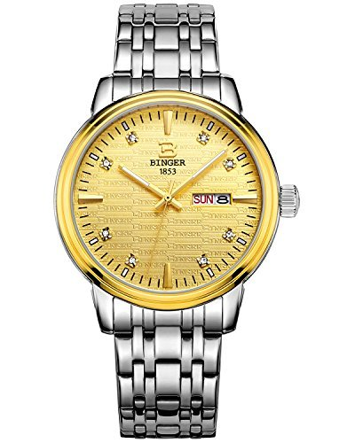 Binger Herren Luminous Gold Zifferblatt mit Edelstahl Armband