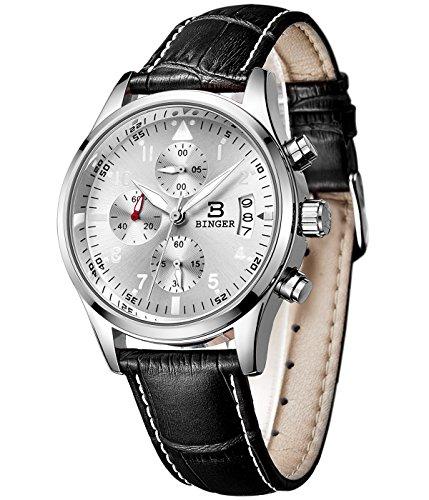 Binger Herren Datum Unisex Militaer Chronograph Uhren Easy Reader Luminous Ziffern Schwarz Lederband