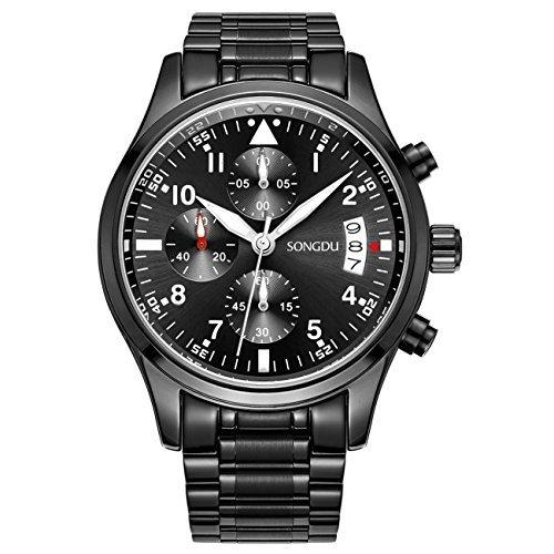 Binger Herren Datum Unisex Schwarz Military Multifunktions Chronograph Uhren Luminous Ziffer Edelstahl