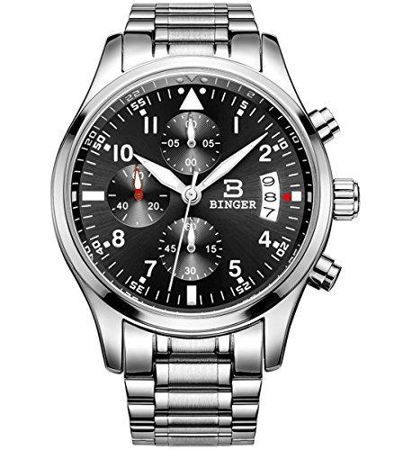 Binger Herren Datum Unisex Military Multifunktions Chronograph Uhren schwarz Edelstahl Luminous Ziffer
