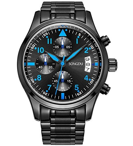 Binger Herren Quarz Multifunktions Big Face Casual Datum Armbanduhr Luminous Cool Blue Hand Edelstahl Band