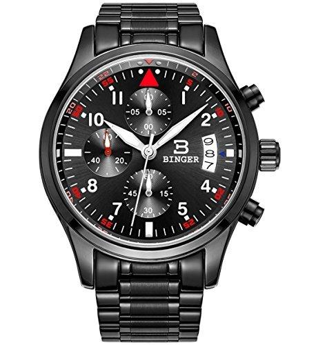 Binger Herren Datum Schwarz Military Multifunktions Chronograph Uhren Edelstahl phosphoreszierende Ziffern